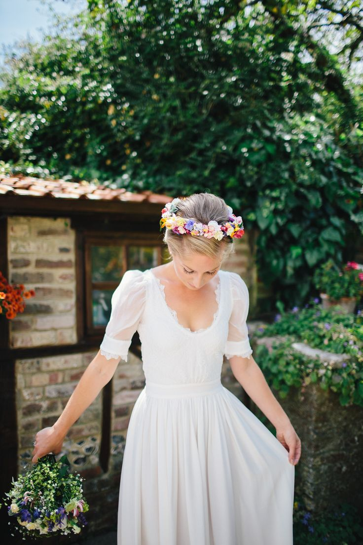 A Fishtail Braid and a Colourful Floral Crown for a Whimsical Wedding in Dorset