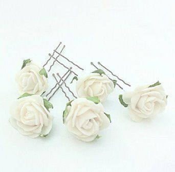 5 Mini Cream Roses Artificial Hair Flower Pins Made in UK jud40jUeKs