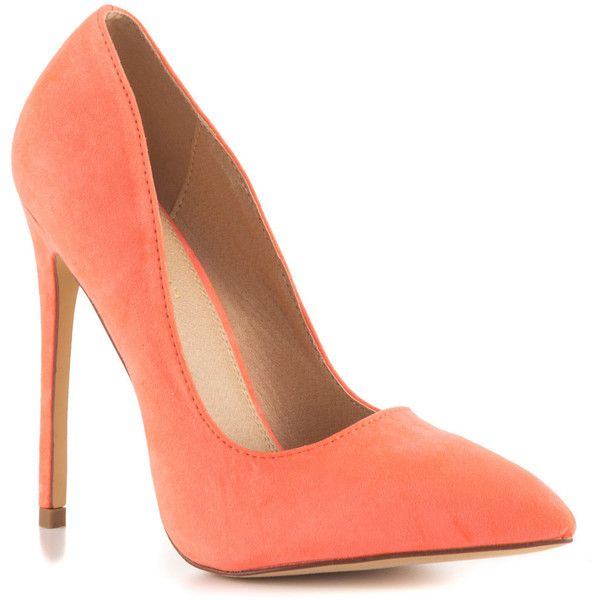 Liliana Women's Pimento - Neon Coral ($50) ❤ liked on Polyvore featuring shoes, pumps, neon shoes, coral pink pumps, high heel pumps, pointed toe high heel pumps and coral shoes