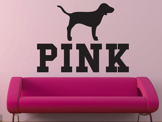 Pink Victoria's Secret Pink with dog wall decal by BearHouseVinyl
