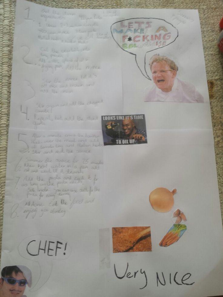 Zelfgemaakte poster recept bolognese