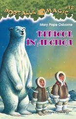 #12. Pericol in Arctica    Jack si Annie calatoresc in casuta magica pana la Polul Nord, unde este te-te-teribil de fri-frig-frig! Din fericire, un vanator de foci eschimos le imprumuta haine calduroase. Din nefericire, copiii raman blocati pe o banchiza si gheata incepe sa crape... Cine ii va salva pe copii? Jack si Annie au dezlegat pana acum trei ghicitori magice si mai au una singura. Ajuta-i si tu pe eroii tai preferati si afla o multime de lucruri despre Polul Nord.
