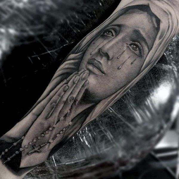 Realistic Praying Hands With Rosary Tattoos For Men