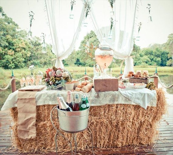 Rustic Wedding champagne bar on a hay bale. Love this! wedding drinks.