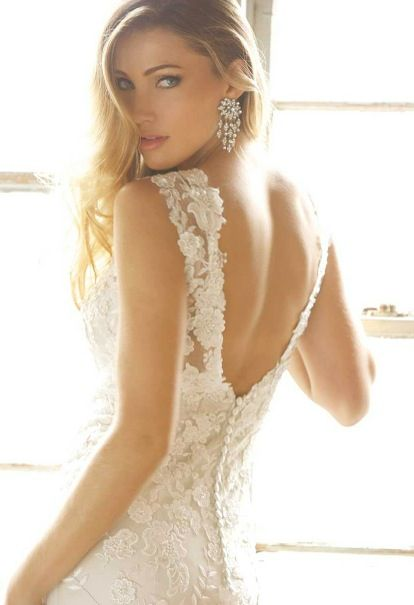 My French lace low back wedding dress
