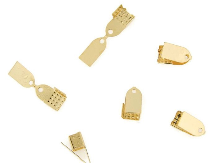 TPCO5 Terminal tipo pinza o pañal en chapa de oro 14k, ideal para gamuza, piel, caucho, hilo o tela, medida 5mm, precio x gramo $3.20 pesos, precio medio mayoreo (100 gramos)$3, precio mayoreo (250 gramos)$2.90, precio VIP(500 gramos) $2.80