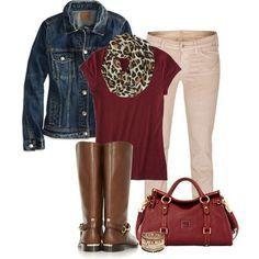 Mossimo Women's Dressy Tee (burgandy) and burg bag/cream pants/denim jacket/brown boots
