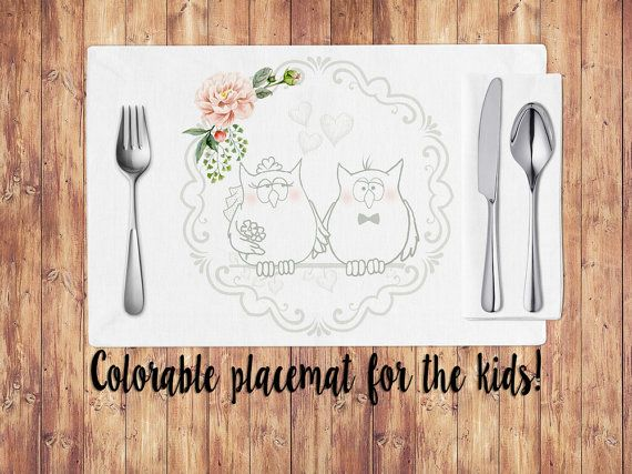 Wedding placemats for kids, coloring placemats, owls, wedding table decoration, printable placemats, shabby chic wedding, wedding decor #OBercailDesign