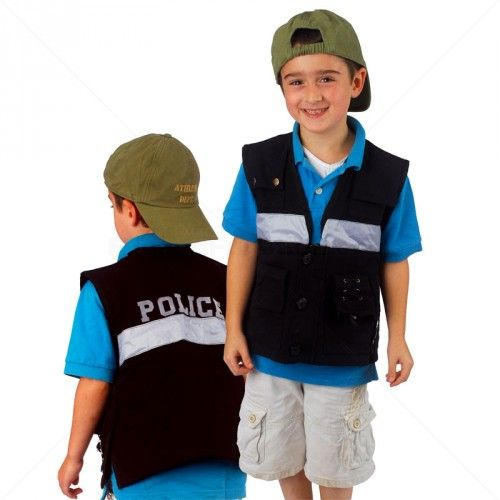 Practice fine motor skills - buttoning and zipping - with this fun dress up costume vest with police design. Add weights to the inside pockets and it works like a weighted vest with calming pressure.