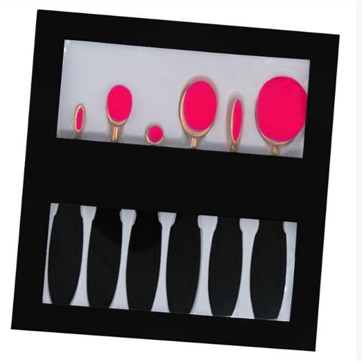 Nieuwe 6 Stks Ovale Tandenborstel Make Borstel Set Poeder Foundation Facial Contour Blusher Oogschaduw Cosmetische Borstels Kit Met Doos