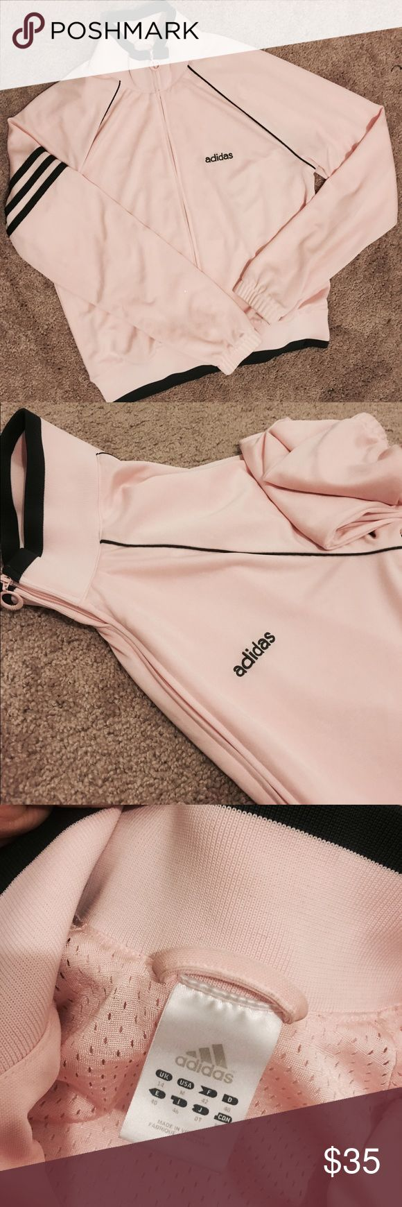 Baby Pink Adidas Jacket Got it from another posher ! It's basically brand new but I realized I don't like wearing pink. I like pullover jackets or windbreaks better so I'm selling. Size M but fits like a small. No flaws. Comes from a smoke free home. PRICE IS FIRM. **** THIS IS AUTHENTIC. I'm not sure how someone is going to fake this brand but I got it from a trusted posher who sells nothing but workout and sporty gear. Not all adidas jackets look the same. Adidas Jackets & Coats
