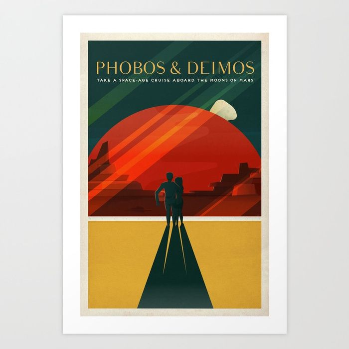 Buy THE MOONS OF MARS - Phobos & Deimos | Space | X | Retro | Vintage | Futurism | Sci-Fi | Two Art Print by mikegottschalk. Worldwide shipping available at Society6.com. Just one of millions of high quality products available.