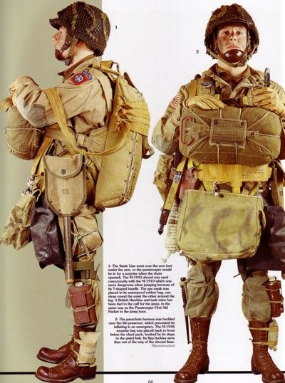WWII D-DAY AMERICAN PARATROOPER UNIFORM/EQUIPMENT EXAMPLE