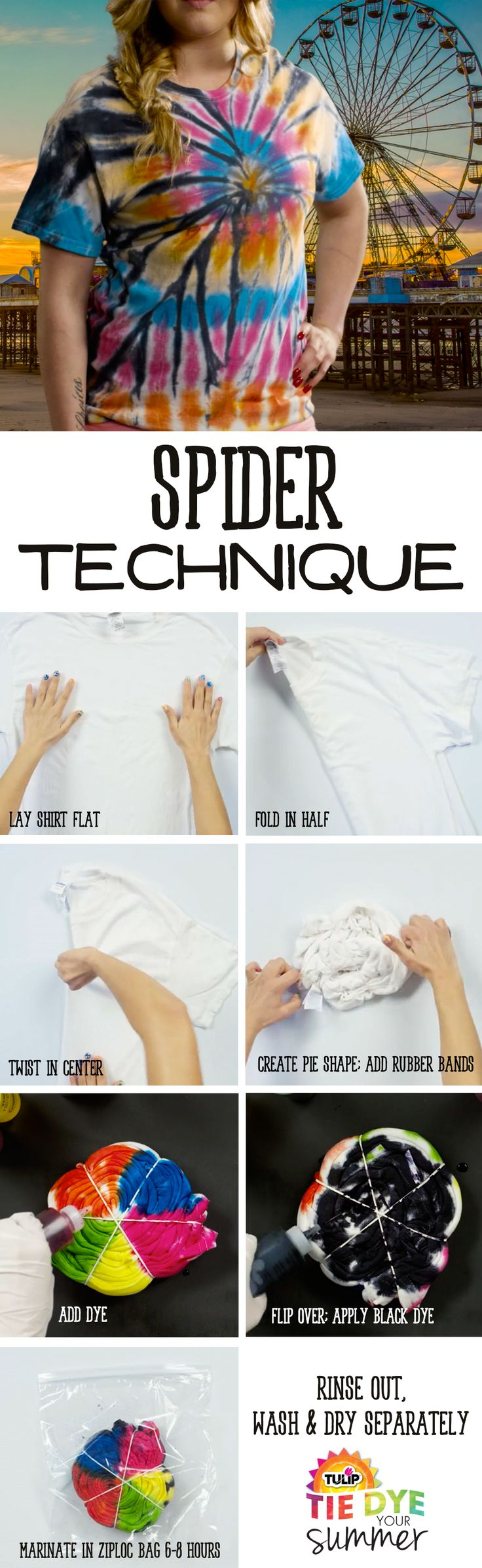 Spider Technique Tie-Dye T-Shirt - how to tie dye a unique tee shirt - DIY summer shirts - tie die tutorial
