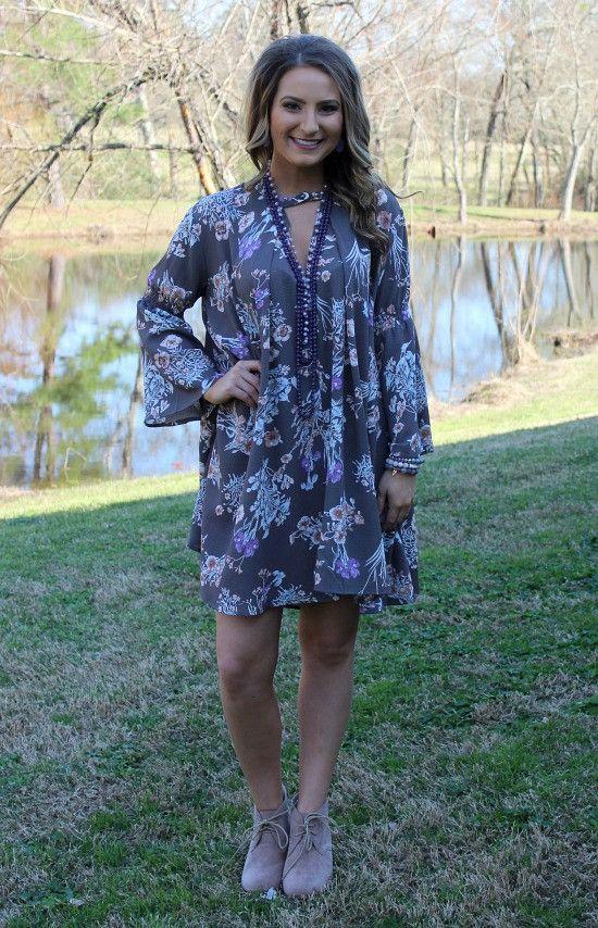Ravishing Beauty Grey Floral Print Trapeze Dress – Giddy Up Glamour Boutique