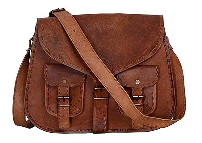 Women Vintage Looking Brown Leather Messenger Handmade Bag Purse Cross Body Bag