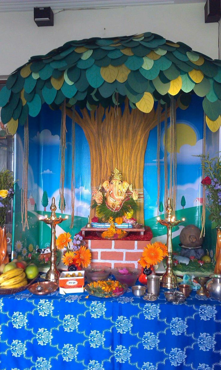 60 best images about ganapati decorations on pinterest for Artificial flower decoration for ganpati