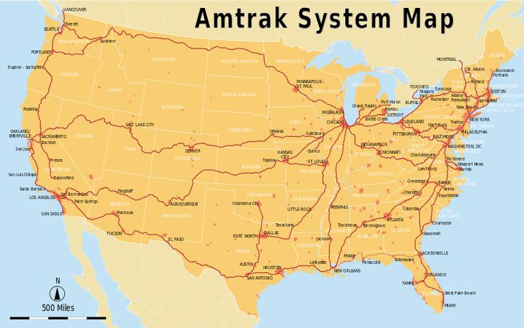 Amtrak System Map train across america!!!