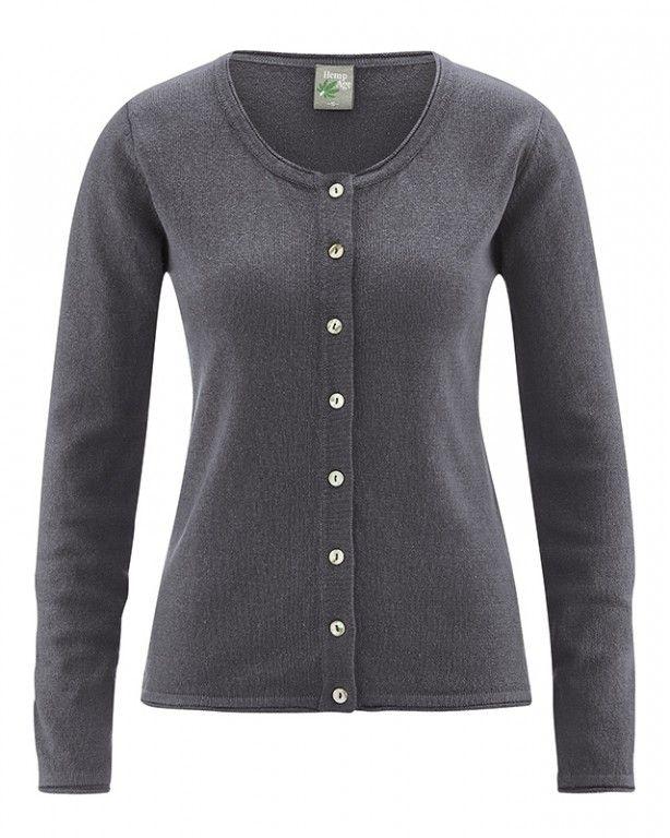 LOLA dámský pletený svetr z konopí a biobavlny - šedá antracit  - fair trade oblečení z biobavlny, bambusu, konopí, modalu, tencelu a merino, přírodní kosmetika, bambucké máslo, fairtrade bytové doplňky