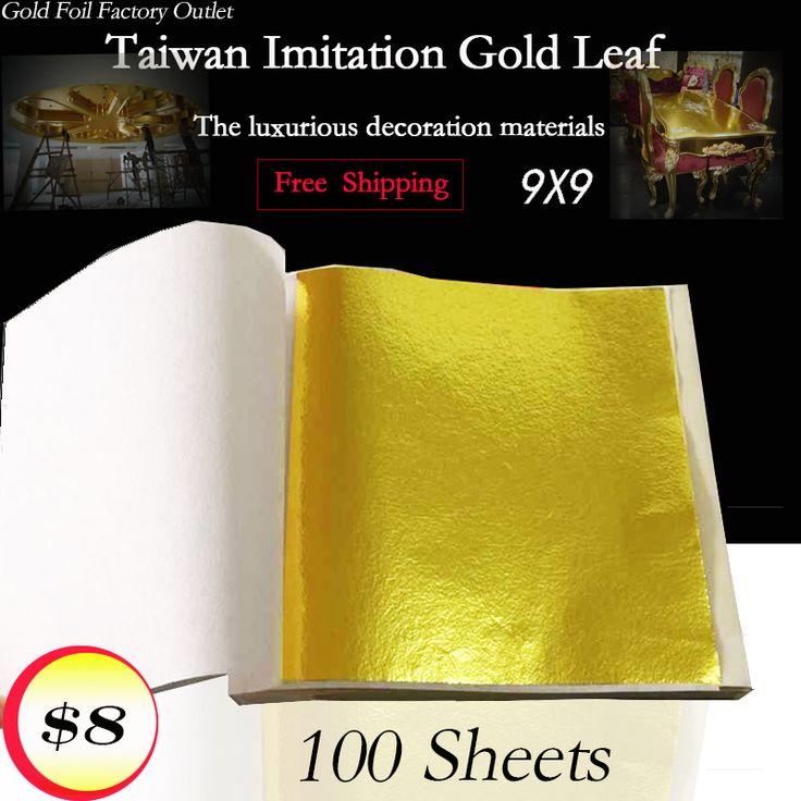 100 листов Тайвань блестящий Имитация сусального золота, позолота цвет, как 24 К золото бесплатная доставка купить на AliExpress
