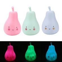 Супер мило груша свет Красочный Силикагель Свет в Ночь Touch Детская Переносная Лампа Спальня Свет Для Ребенка Дети Спят подарок