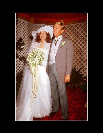 """Karen Carpenter, singer, drummer, and a duo with her brother Richard (known as the Carpenters) with real-estate developer Tom Burris at their wedding in 1980.  Their divorce was to be final 2/4/1983, the day she died of """"heartbeat irregularities brought on by chemical imbalances associated with anorexia nervosa.""""  She was 32."""