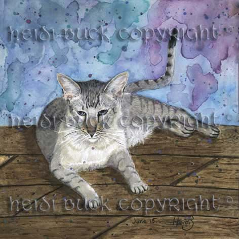 Snow Serengeti Cat 'Mowgli' Greetings Card by HeidiWildCreations