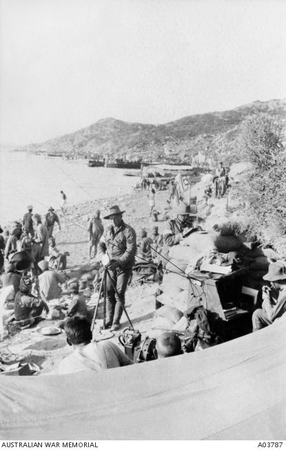 Wireless Station W.5 operated by the 2nd Signal Troop, 2nd Australian Light Horse Brigade, on the beach at Anzac Cove, Gallipoli, a few days after the landing, April 1915. Australian War Memorial, A03787.