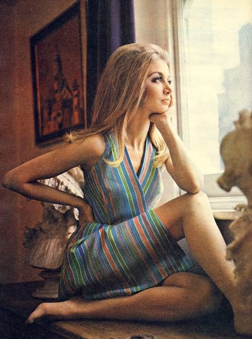 Wrap dress. Shirley Anne Hayes in Honey Magazine July '67 photo by John Cowan.