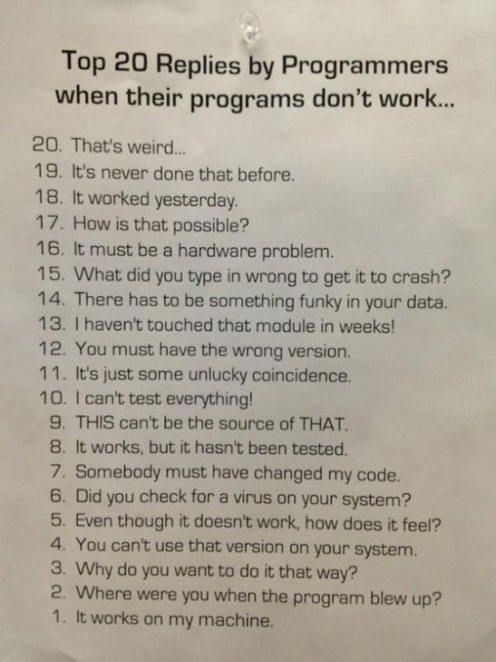 Top 20 replies by programmers, when their programs don't work.