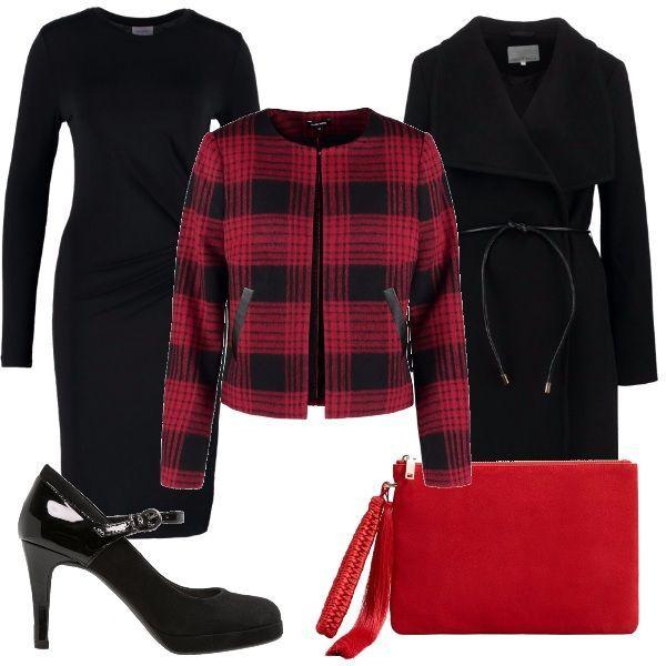 Vestito nero giacca rossa self