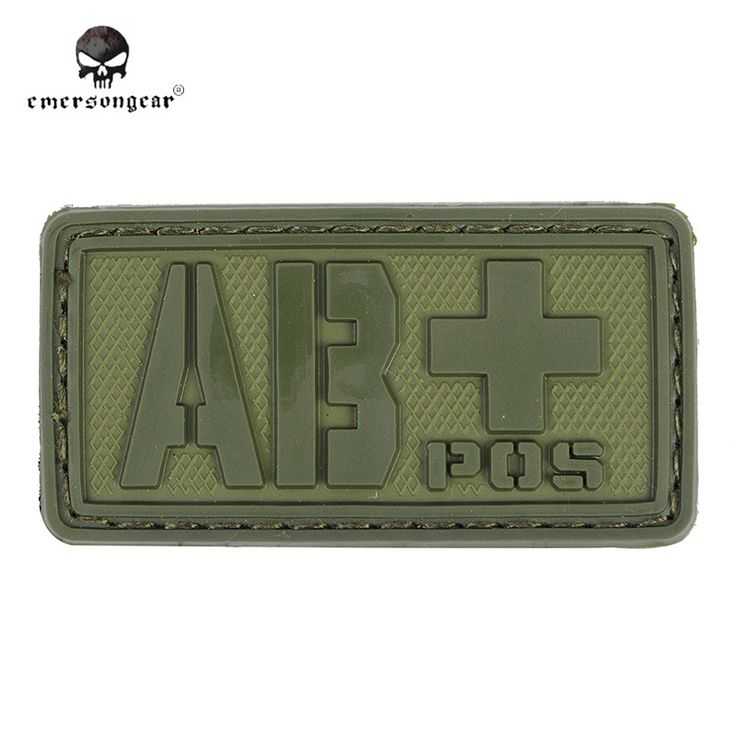 Emersongear Rescue Blood Type PVC 3D Rubber ABPOS Blood Type Patch Military Paramedic Patch Badge Helmet Bag Patches OD Color#