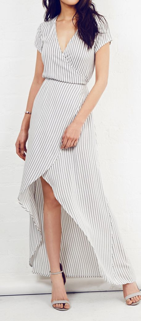 Stripes wrap maxi. women fashion outfit clothing style apparel @roressclothes closet ideas