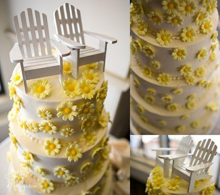 #weddings #weddingcake #beachwedding #summerwedding #beachweddingcake #summerweddingcake #yellowcake # adirondakchairscake #caketopper #flowercake