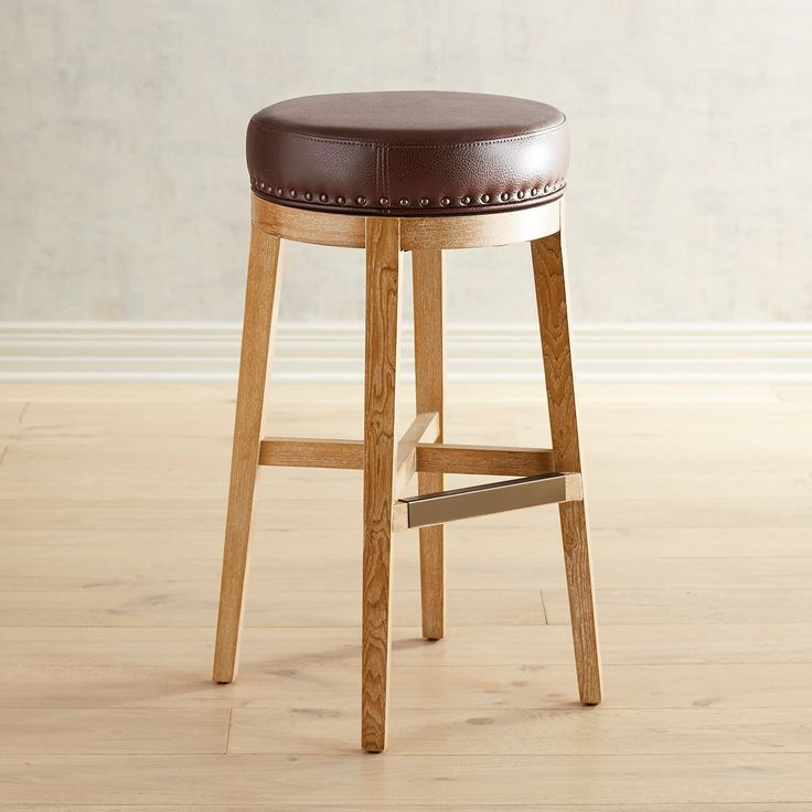 Hudson Pecan Brown Bar Stools With Natural Whitewash Wood
