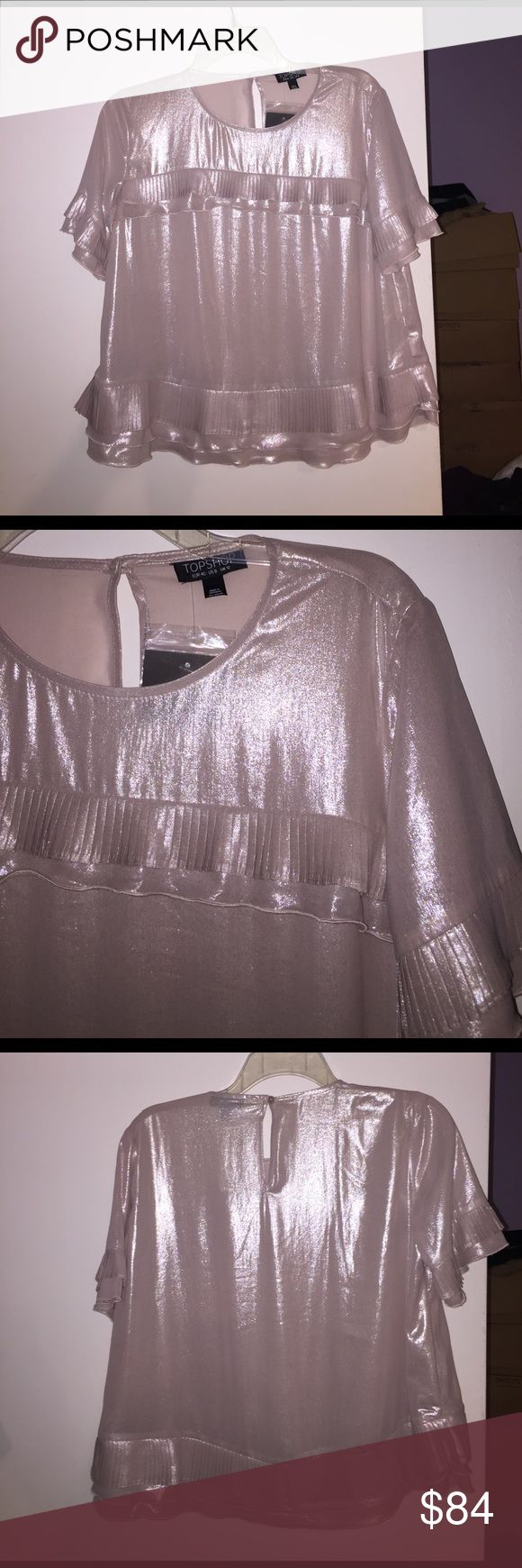 Metallic blouse with pleated frills New with tags. Beautiful sheen. Topshop Tops Blouses