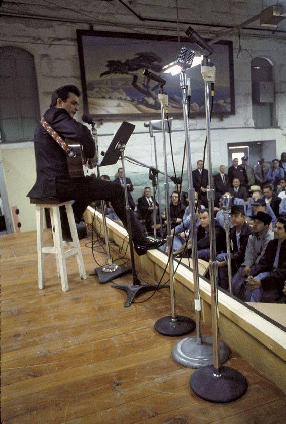 Johnny Cash at California's Folsom State Prison in 1968.