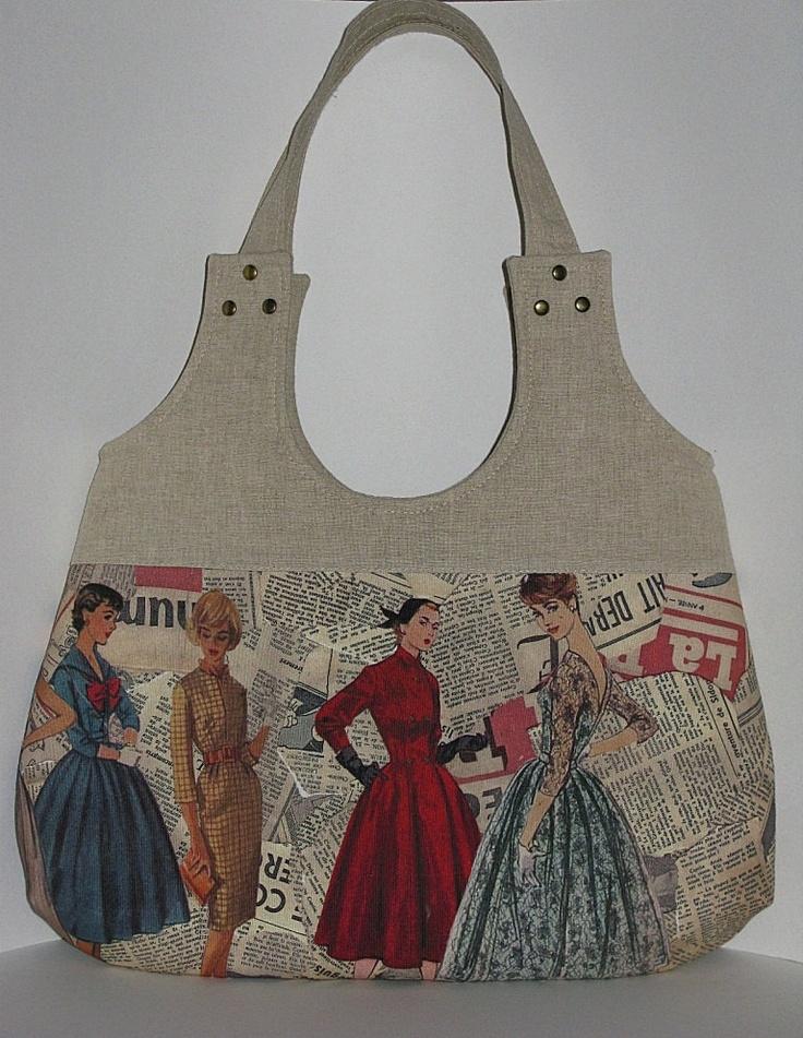 vintage sewing pattern tote