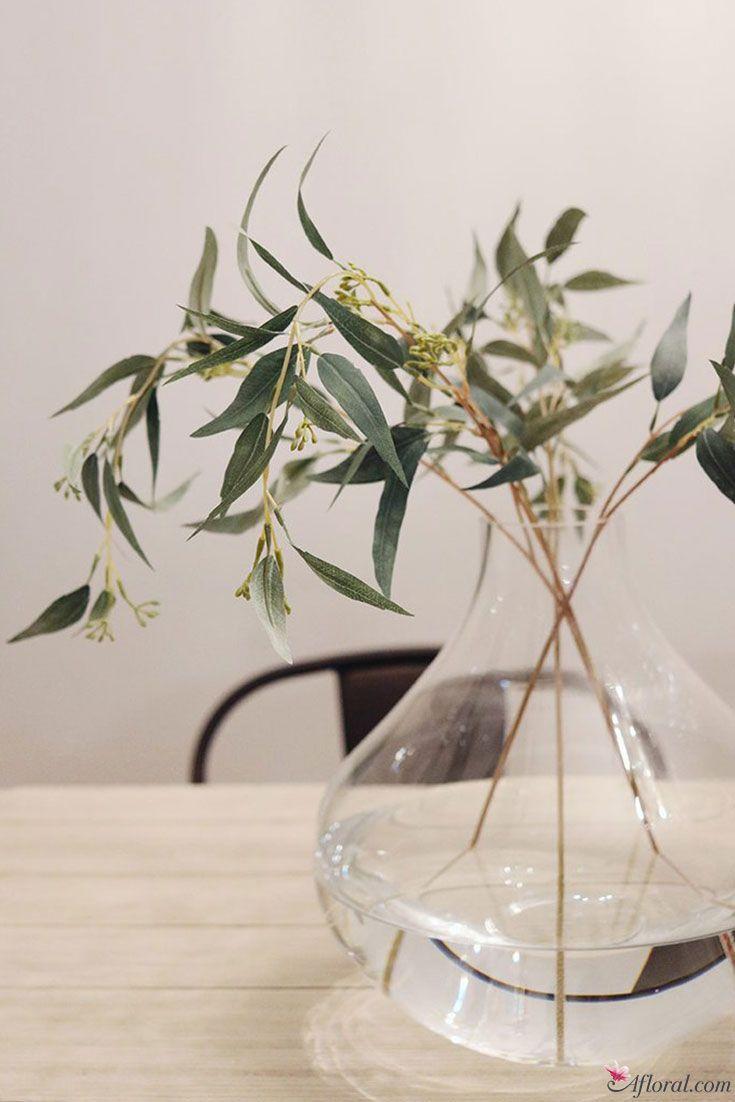 Artificial Seeded Eucalyptus Leaf Spray In Green Seeded Eucalyptus Silk Flower Bouquets Eucalyptus Leaves