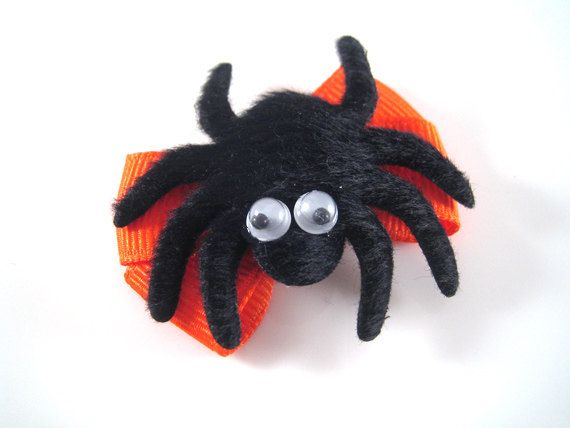 Dog Hair Bow - Black Spider on Orange -  Yorkie Shih Tzu Maltese
