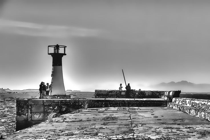 The lighthouse and the fisherman, Kalk Bay, South Africa
