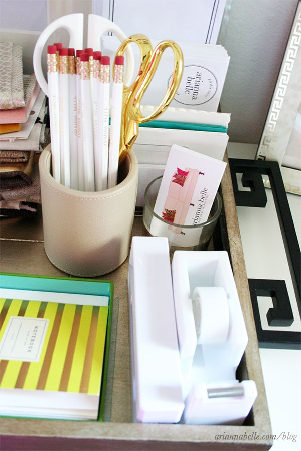 organizing office space. Organize Office Clutter With A Pretty Tray Great When Your Desk Has Minimal Or No Drawer Space Organizing