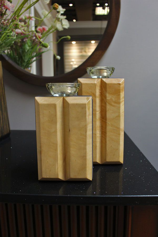 #candleholders #design solid wood candle holders with leather sides chestnutgrove.ca
