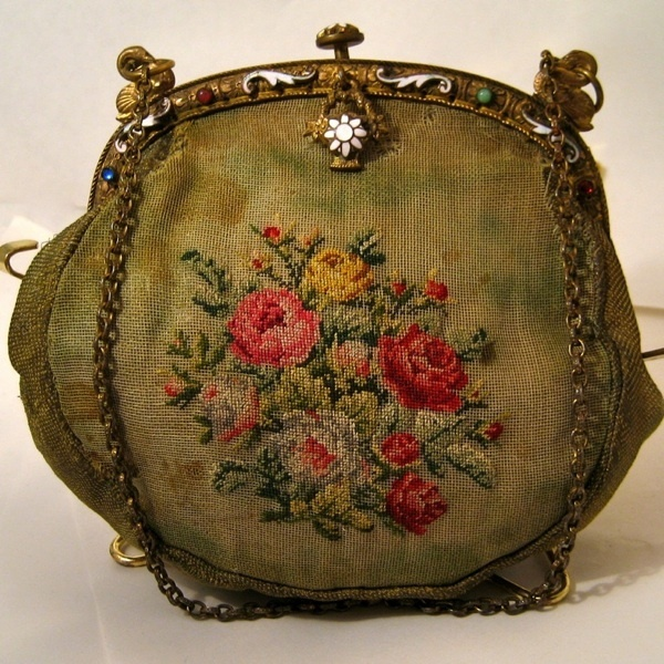 Antique Vintage Purse Jeweled Frame Petit Point Bag | eBay
