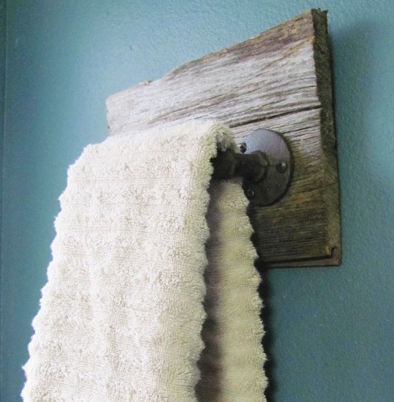 This Rustic Hand Towel Holder Is Handmade Using Salvaged Barnwood, And An  Industrial Style Pipe