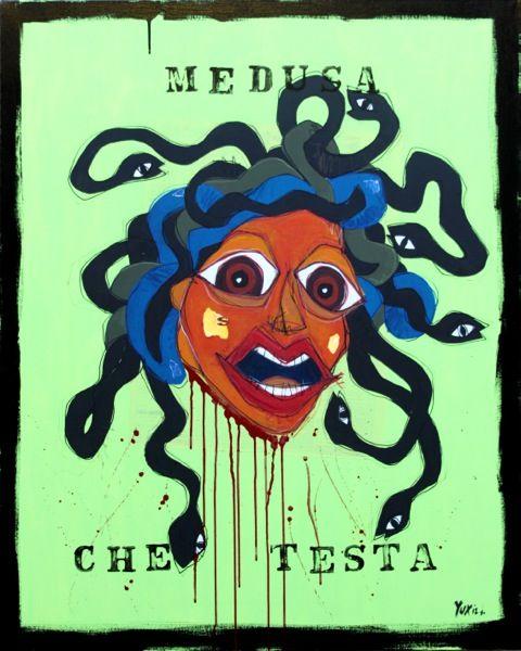 Medusa Che Testa http://www.pisacanearte.it/index.php/artisti/y/yux/yux-medusa-che-testa-acrilico-pastelli-a-cera-smalto-e-manifesti-su-tela-80x100-cm.html