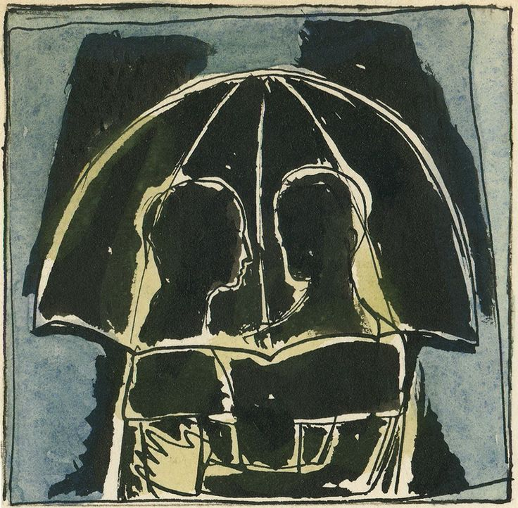 "Victor Shmokhin. ""Влюблённые под зонтом"" 1976г. Бумага /тушь, акварель."