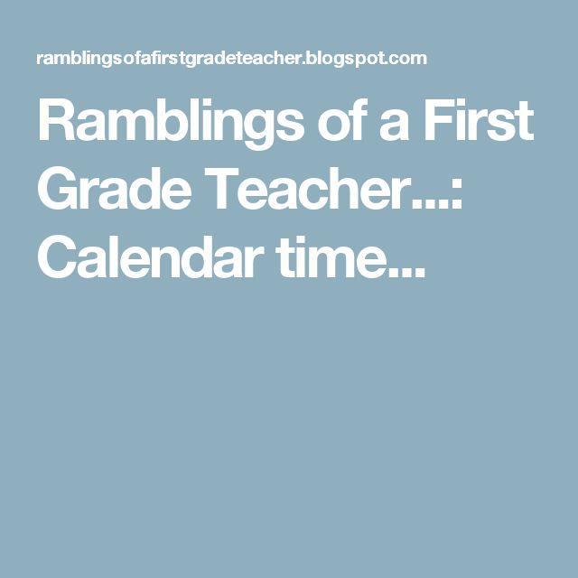 Ramblings of a First Grade Teacher...: Calendar time...