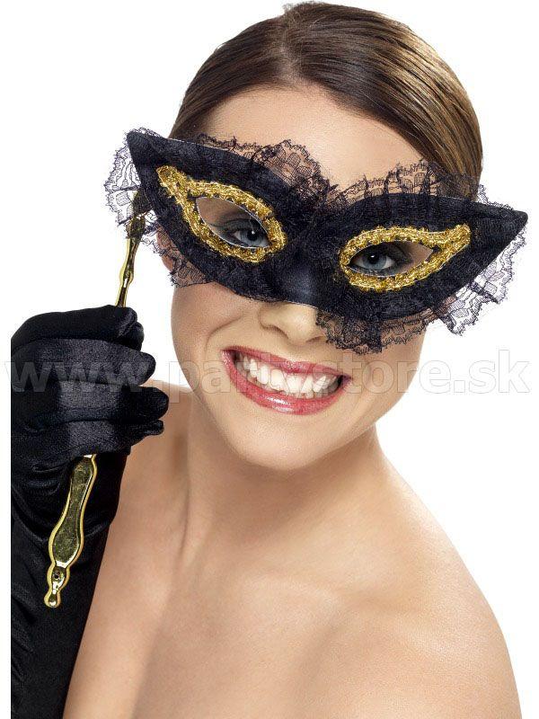 """Maska - škraboška """" Vyberavá """" čierna s čipkou a sklopnou paličk"""
