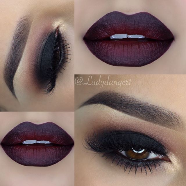 @maccosmetics Nightmoth lip liner with Sin lipstick on the lips @anastasiabeverlyhills shadows in Sienna, Noir and Pink Sorbet @blinkingbeaute lashes in Samantha.
